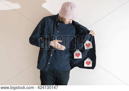 A Man Showing Likes Bosom, Selling Like Icons On The Web. Creative Idea