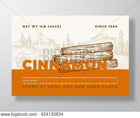 Fresh Local Cinnamon. Food Label Template. Abstract Vector Packaging Design Layout. Modern Typograph