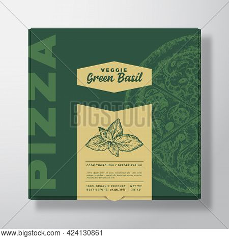 Pizza With Basil Herb Realistic Cardboard Box Mockup. Abstract Vector Packaging Design Or Label. Mod