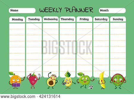 Schedule Design Template. Childrens Weekly Planner And School Timetable With Cool Fruits In Cartoon