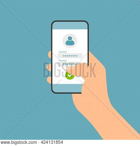 Flat Design Illustration Of Hand Holding Touch Screen Smartphone. Login Form For Entering Username A