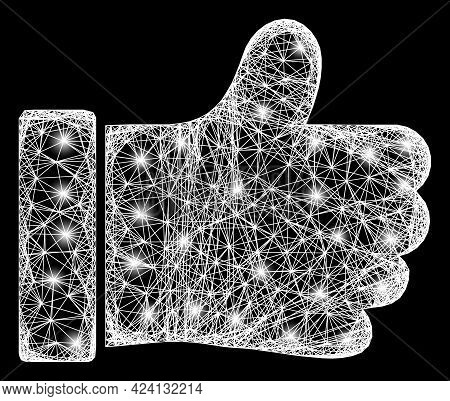 Flare Crossing Mesh Thumb Up Carcass With Glowing Spots. Constellation Vector Structure Created From