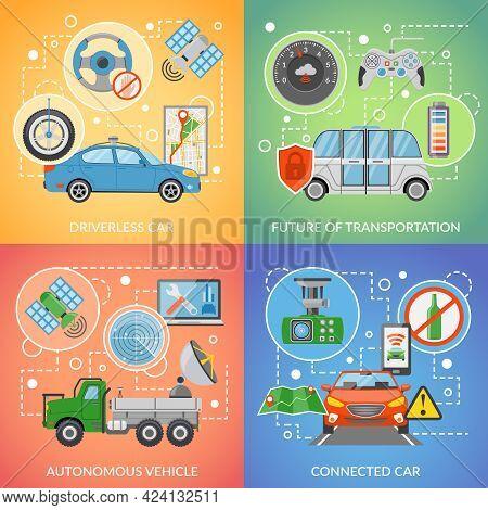 Flat Design Future Of Transportation Driverless Car Autonomous Vehicle Isolated 2x2 Icons Set Vector