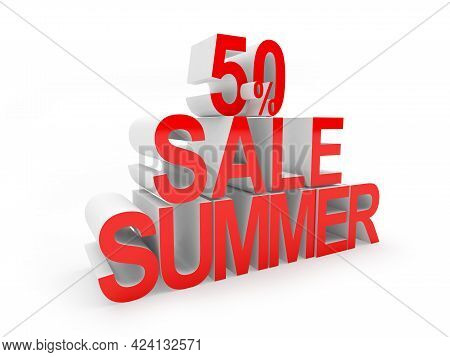 Banner With Red Text 50 Percent Summer Sale. 3d Illustration