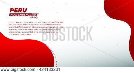 Peru Independence Day With Red And White Background Design. Good Template For Peru National Day