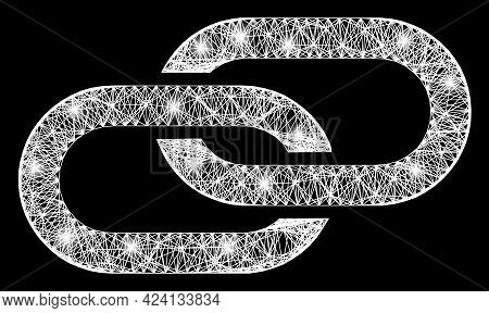 Shiny Net Mesh Linkage Frame With Bright Dots. Constellation Vector Mesh Created From Linkage Pictog