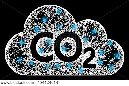 Glowing Crossing Mesh Carbon Dioxide Cloud Framework With Glowing Spots. Constellation Vector Framew