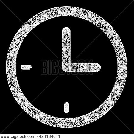 Glare Crossing Mesh Clock Carcass With Light Dots. Constellation Vector Structure Created From Clock