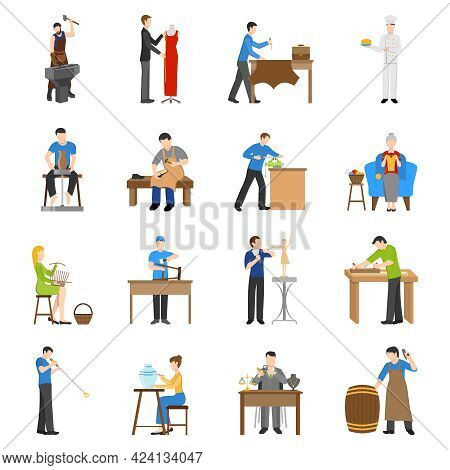Flat Design Craftsmen Icons With People Having Various Professions Isolated On White Background Vect