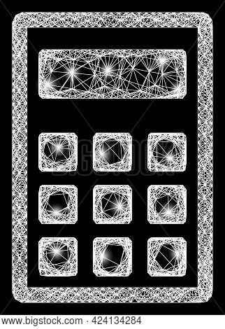 Shiny Net Mesh Calculator Frame With Flash Nodes. Constellation Vector Mesh Created From Calculator