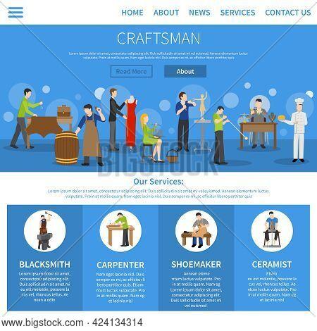 One Flat Craftsman Internet Page Describing Services Of Blacksmith Carpenter Shoemaker Ceramist And