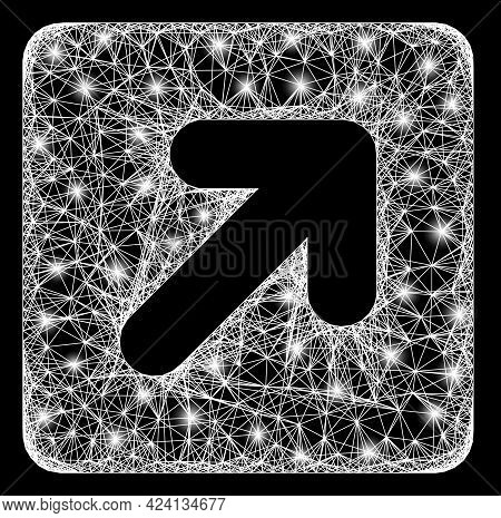 Bright Crossing Mesh Right Up Direction Frame With Bright Dots. Illuminated Vector Mesh Created From
