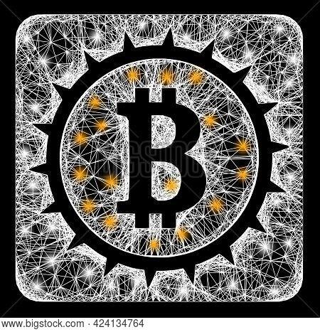 Shiny Crossing Mesh Bitcoin Box Carcass With Bright Dots. Illuminated Vector Mesh Created From Bitco