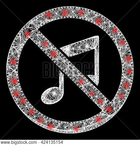 Bright Net Forbidden Music Frame With Bright Dots. Constellation Vector Mesh Created From Forbidden