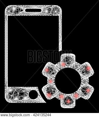Bright Net Mesh Smartphone Repair Gear Frame With Lightspots. Illuminated Vector Structure Created F