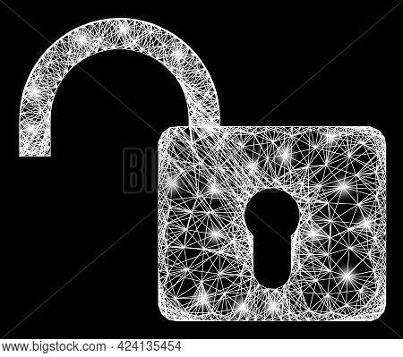 Glare Net Mesh Open Lock Frame With Lightspots. Constellation Vector Framework Created From Open Loc