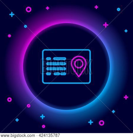 Glowing Neon Line Address Book Icon Isolated On Black Background. Telephone Directory. Colorful Outl