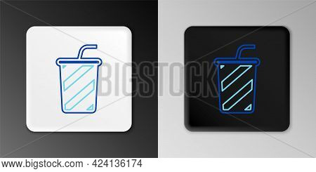 Line Glass With Water Icon Isolated On Grey Background. Soda Drink Glass With Drinking Straw. Fresh