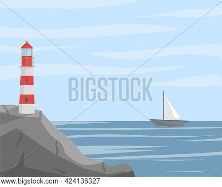 Lighthouse On Seashore With Sea View Landscape. Concept Vector Illustration In Flat Style.