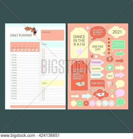 Autumn Daily Planner Stickers Printable Page Template Schedule And Collection With Design Elements F