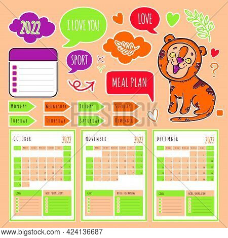 Autumn Tiger Planner 2022 Template Schedule And Collection With Design Elements For A Three Months F