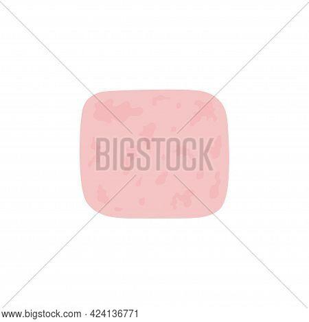 Ham Slice Isolated On White Background, Vector Illustration