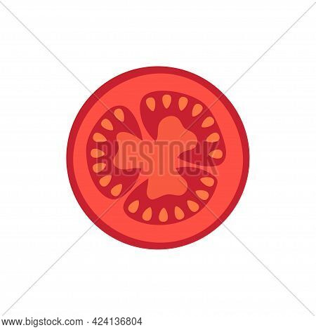 Slice Of Red Tomato Isolated On White Background, Vector Illustration Of Vegetable, Flat Tomato Icon