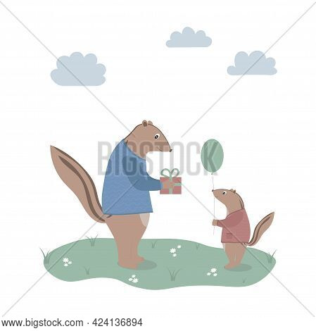 Father Or Grandfather Chipmunk With A Gift Box And Son With A Balloon. Perfect For Greeting Cards, P