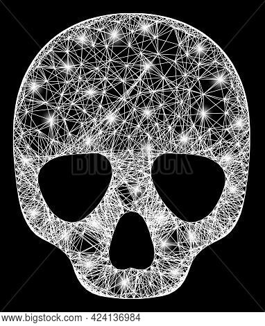 Glare Crossing Mesh Skull Wireframe With Glowing Spots. Constellation Vector Model Created From Skul