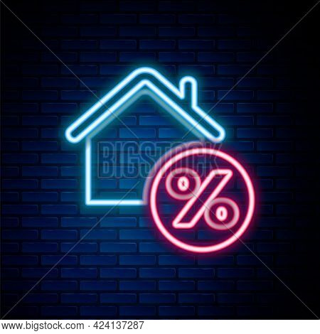 Glowing Neon Line House With Percant Discount Tag Icon Isolated On Brick Wall Background. House Perc