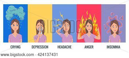 Women Stress Symptoms. Emotional Or Mental Health Problems, Stress - Hysterics Insomnia Headache Dep