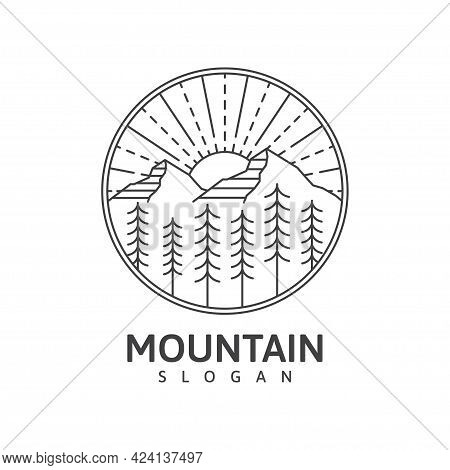 Mountain Monoline Outdoor Nature Vector Illustration Black Color