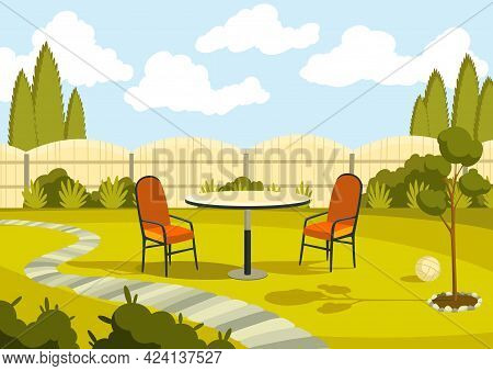 Patio Area With Cartoon Table And Chairs. Sunny Courtyard Area With Green Grass. Outdoor Cartoon Bac