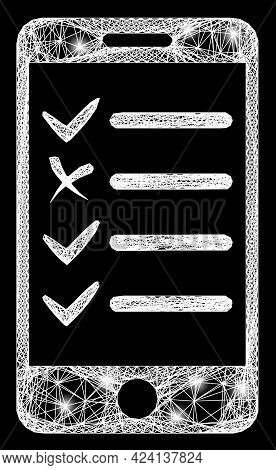 Flare Crossing Mesh Mobile Check List Frame With Lightspots. Illuminated Vector Model Created From M