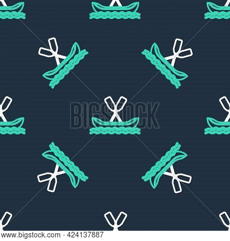 Line Rafting Boat Icon Isolated Seamless Pattern On Black Background. Kayak With Paddles. Water Spor