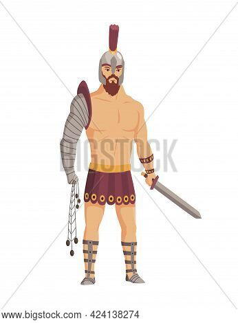 Ancient Rome Gladiator. Vector Roman Warrior Character In Armor With Sword. Flat Illustration In Car