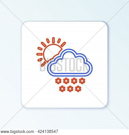 Line Cloud With Snow And Sun Icon Isolated On White Background. Cloud With Snowflakes. Single Weathe