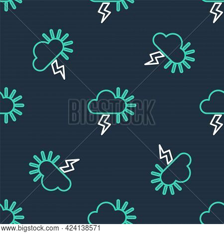Line Storm Icon Isolated Seamless Pattern On Black Background. Cloudy With Lightning And Sun Sign. W