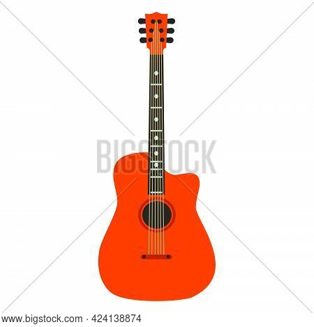 Acoustic Guitar Music Instrument With String Vector Icon. Retro Musical Guitar Equipment Sound, Wood