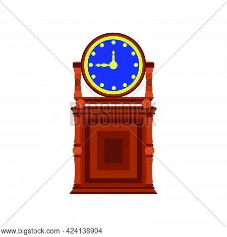 Vintage Clock Time Vector Isolated White Face Watch. Retro Clock Illustration Concept Countdown Clas