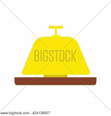 Hotel Service Bell Vector Icon Illustration Reception Symbol Call. Isolated Help Bell Ring Hotel Ser