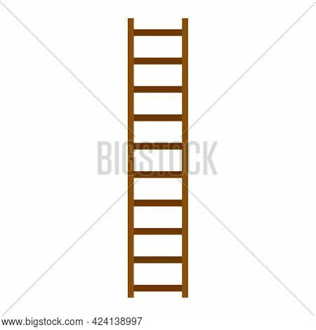 Wooden Ladder With Step Construction Staircase Vector Illustration. Wood Tool Equipment Brown Ladder