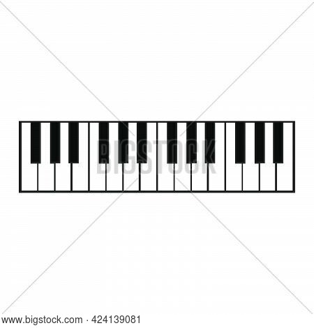 Piano Key Music Vector Illustration Instrument Black And White Note. Classic Synthesizer Piano Key S