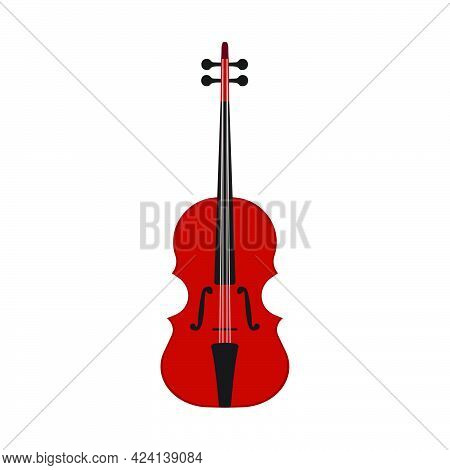 Music Violin Vector Illustration Instrument With String. Musical Classical Fiddle Orchestra Icon Iso
