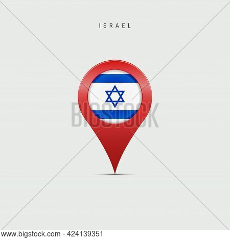 Teardrop Map Marker With Flag Of Israel. Israeli Flag Inserted In The Location Map Pin. Vector Illus