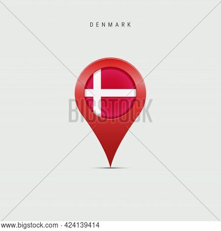 Teardrop Map Marker With Flag Of Denmark. Danish Flag Inserted In The Location Map Pin. Vector Illus