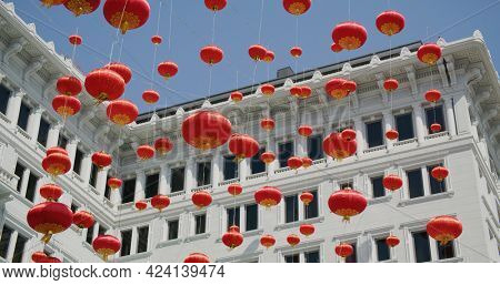 Red Lantern hanging at outdoor for lunar new year