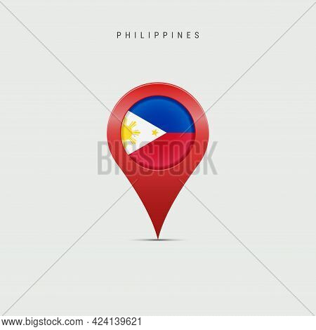 Teardrop Map Marker With Flag Of Philippines. Philippine Flag Inserted In The Location Map Pin. Vect