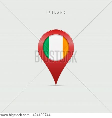 Teardrop Map Marker With Flag Of Ireland. Irish Flag Inserted In The Location Map Pin. Vector Illust