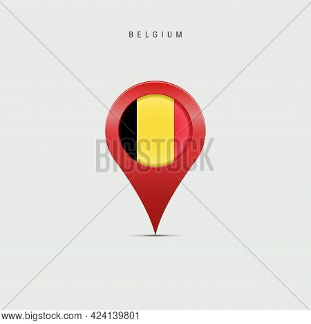 Teardrop Map Marker With Flag Of Belgium. Belgian Flag Inserted In The Location Map Pin. Vector Illu